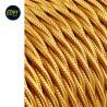 Cable textil trenzado 2x0,75mm 25mts c-45 oro mate seda  euro/mts